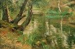 Sommerliche Flusslandschaft mit Bäumen