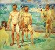 Männer am Strand, Öl auf Leinwand, 206 × 227 cm