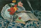 Nature morte; fleurs, faience, livres