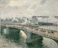 Le pont Boieldieu à Rouen, soleil couchant, temps brumeux