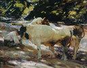 Bauernjunge mit Kühen an der Tränke