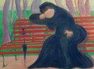 Witwe auf der Bank