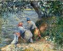 Washerwomen on the bank of the river Oise, Pontoise (France)