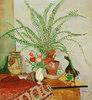 Stilleben mit Blattpflanze