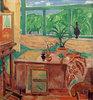 Atelierstilleben mit Iris und mehrteiligem Fenster