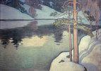 See mit verschneitem Ufer