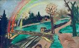 Eisenbahnlandschaft mit Regenbogen