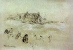 Strandhäuser, im Vordergrund Ziegen