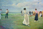 Tennisspieler am Meer