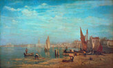 Venedig, Venezia. Blick über das Bacino di S. Marco auf Dogenpalast und Campanile