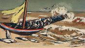 Braunes Meer mit Möwen