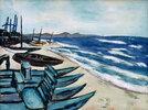 Strand mit Booten an der Riviera