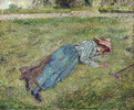 Die Rast, liegendes Mädchen am Rasenhang, Pontoise