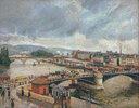 Blick auf die Große Brücke, Rouen, Regen