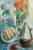 Stilleben mit Kaffeekanne, Blumen und Gebäck