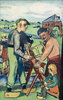 Holzsäger mit Kind