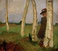 Mädchen mit Hut zwischen Birkenstämmen