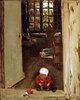 Spielendes Kind in der Haustür