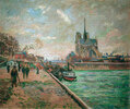 Seineufer in Paris, Blick auf Notre- Dame