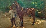 Reitknecht mit Pferd