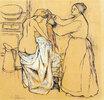Frau bei der Toilette
