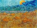 Evening landscape with rising moon. Saint-Rémy-de-Provence