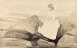 Inger am StrandMunch, Edvard 1863?1944, Inger am Strand, um 1889, Inger Munch, die Schwester des Künstlers, Wasserfarbe und Bleistift auf Papier auf Karton, 18,5 × 27,7 cm, Stockholm, Privatsammlung