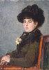 Portrait de femme au chapeau à plumes
