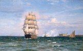 Arnesen, Vilhelm Born 1865.?A Danish Barque off Kronborg Slot with Helsengor and the Swedish Coast behind?.Oil on canvas, 77 × 123cm.No date.London, Sotheby?s.Lot
