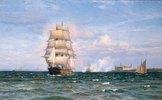 Eine dänische Barke vor Helsengor und der schwedischen Küste