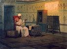 Ägyptischer Priester einen Papyrus lesend