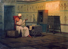 Egyptian priest reading a papyrus