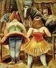 Zirkuspferd mit drei Frauen