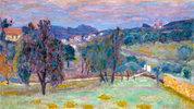 Violette Landschaft, der Abend