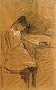 Die Tochter des Künstlers, nähend