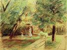 Enkelin mit Kinderfrau vor Heckengärten