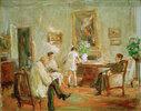 Der Künstler skizzierend im Kreis seiner Familie