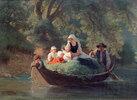 Bauernfamilie in einem Boot