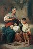 Großmutter, ihren Enkeln die Haare schneidend