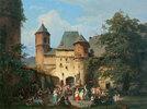 Festszene im Vorhof einer Burg