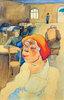 Frau mit roter Mütze im Wartesaal