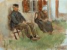 Studie aus Holland: Altes Paar vor einem Haus sitzend