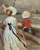 Frau mit Kind im Segelboot