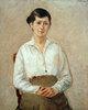 Die Tochter des Künstlers in Halbfigur, sitzend en face
