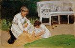 Die Enkelin mit der Kinderfrau beim Spiel