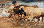 Knecht mit Kuh und Ochse