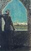 Bekränzter junger Mann, aus einem alten Gemäuer in die Ferne blickend