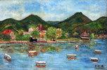 Boats, village, beach, hills, Taiwan