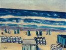 Blaues Meer mit Strandkörben