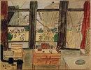 Max Beckmanns Schlafzimmer bei geöffnetem Vorhang